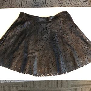 Girls 10/12 black pleather laser cut skirt